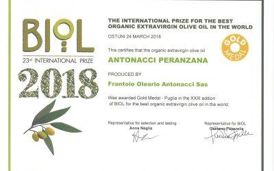"""L'Olio Biologico """"Peranzana Antonacci"""" si aggiudica la """"Gold Medal"""" al concorso internazionale Biol"""